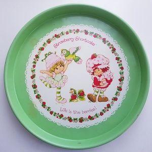 Vintage 1982 Strawberry Shortcake green round tray